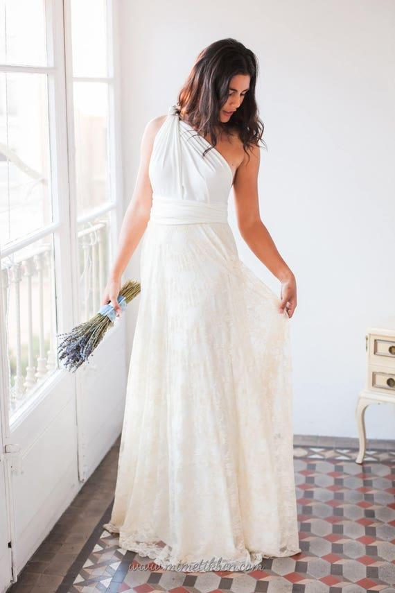 Vestido Novia Boho de encaje vestido blanco con encaje  87b6ec0bfbf6