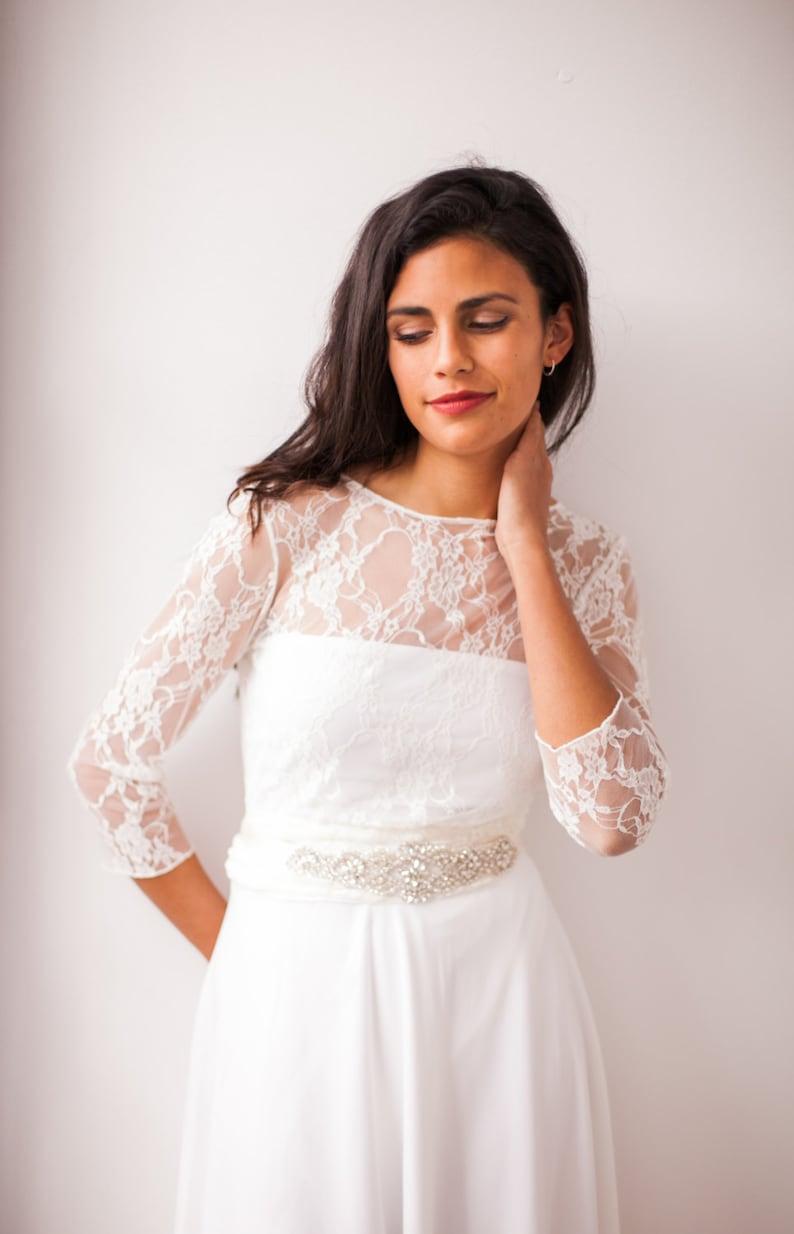 c630862a0b157 High neck lace shrug long sleeve wedding top wedding jacket | Etsy
