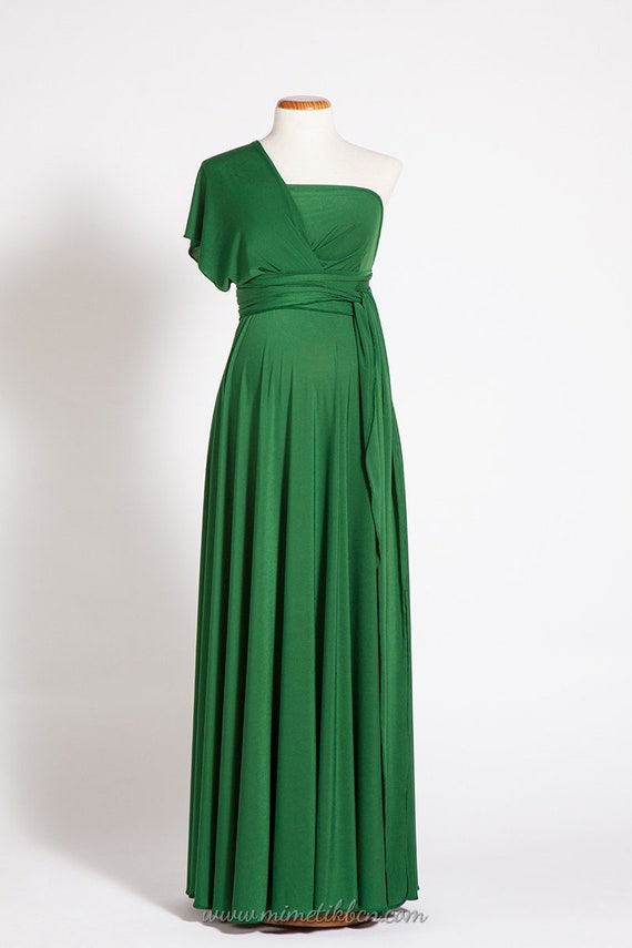 Maternity dress, long maternity infinity dress, green baby shower dress, green premom gown green maternity dress baby shower pregnancy dress