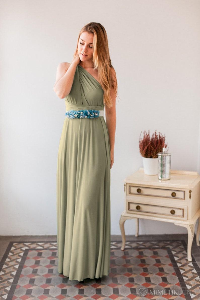 f25478fa4ed8 Moss green infinity dress long light green dress Light khaki   Etsy