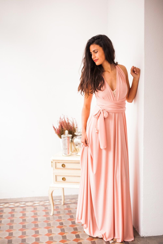 ea67150f79c Peach bridesmaid dress long peach dress infinity long dress