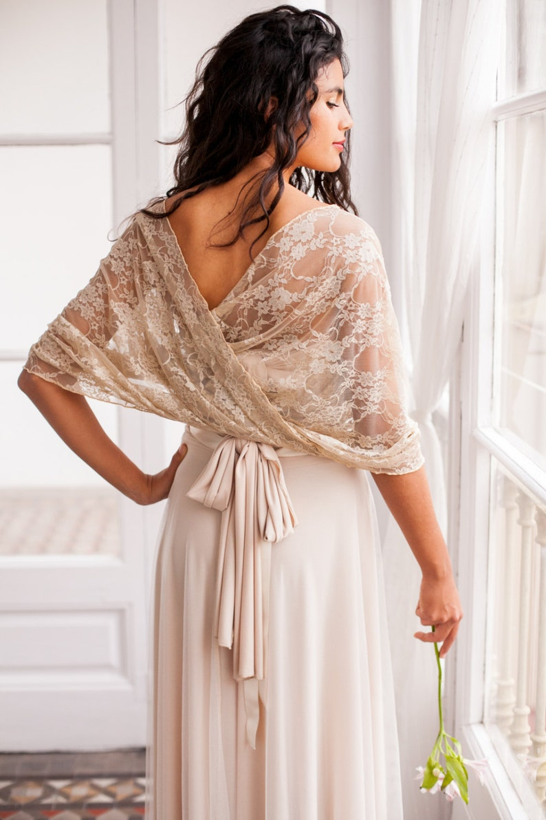 Wedding shawl wedding lace shawl wedding cover up lace Golden