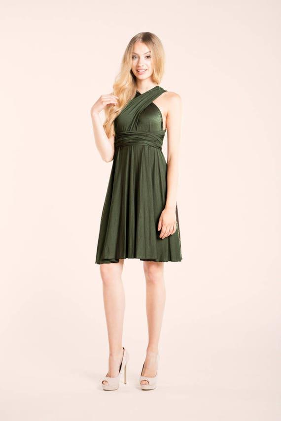 Vestido Corto Kaki Vestido Convertible Verde Oliva Vestido Convertible Corto Vestido Verde Oliva Corto Vestido Verde Kaki