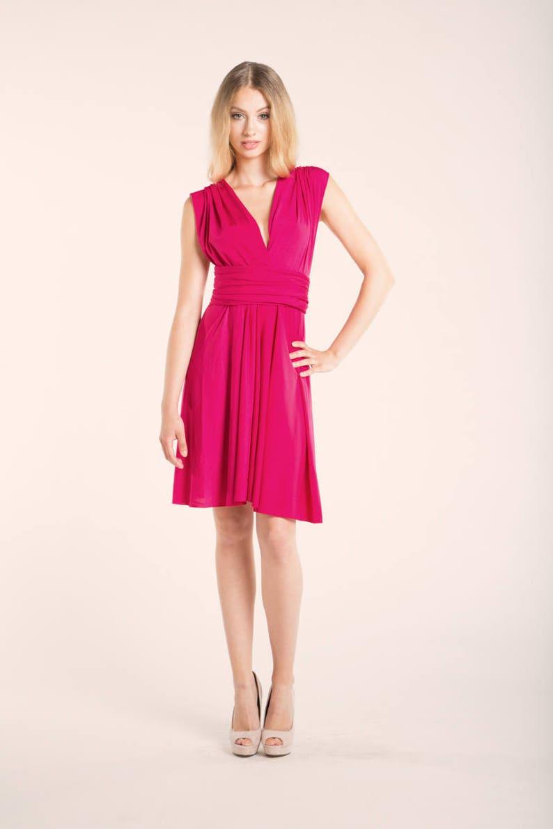 43715885d1c Hot pink short dress short pink dress knee-length infinity