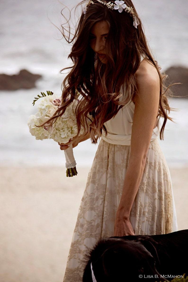 04bc5b047 Vestido Novia Romántico encaje vestido blanco encaje dorado