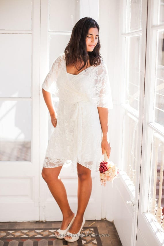 Short Lace Overdress Ivory Lace Short Wedding Dress Unlined Etsy
