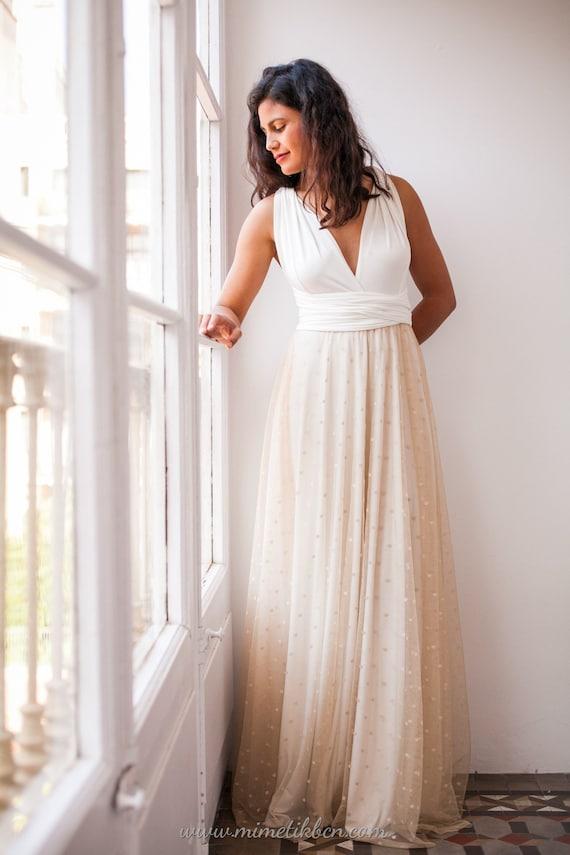 Wedding Dress Beige Tulle Wedding Dress Tulle Polka Dot Etsy