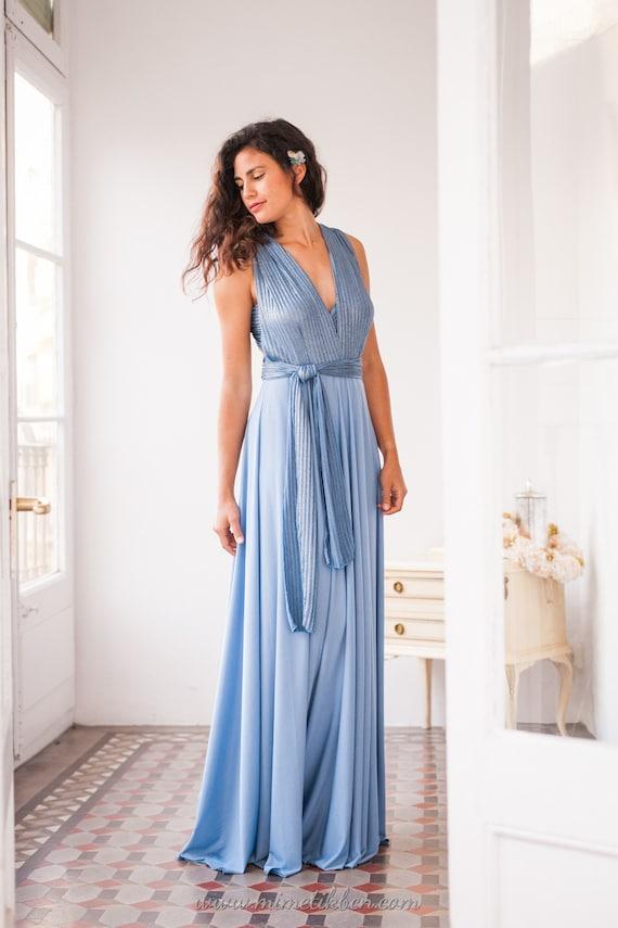 Vestidos largos azul claro