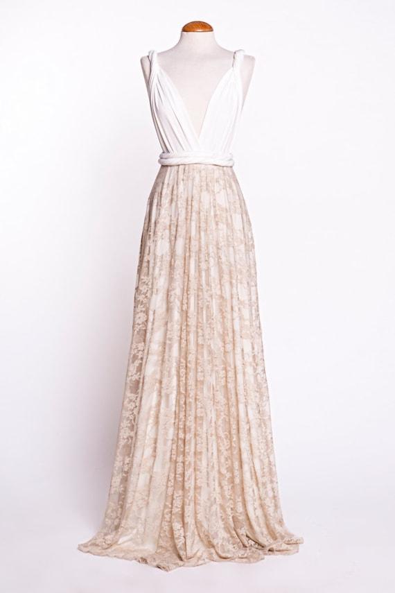 Wedding Dress Boho Wedding Dress Golden Lace Bridal Gown Etsy