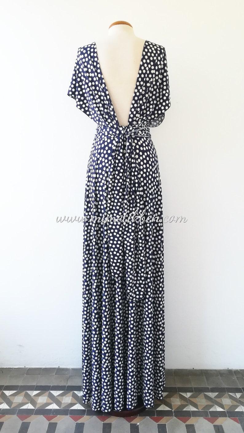 Polka Dot Kleid lang Maxi-Kleid mit Polka Dots Marine blau ...