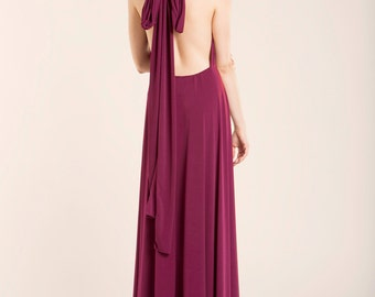 Burgundy prom dress, marsala long dress, red floor length infininty dress, long party dress, marsala dress, red wrap dress, prom dresses