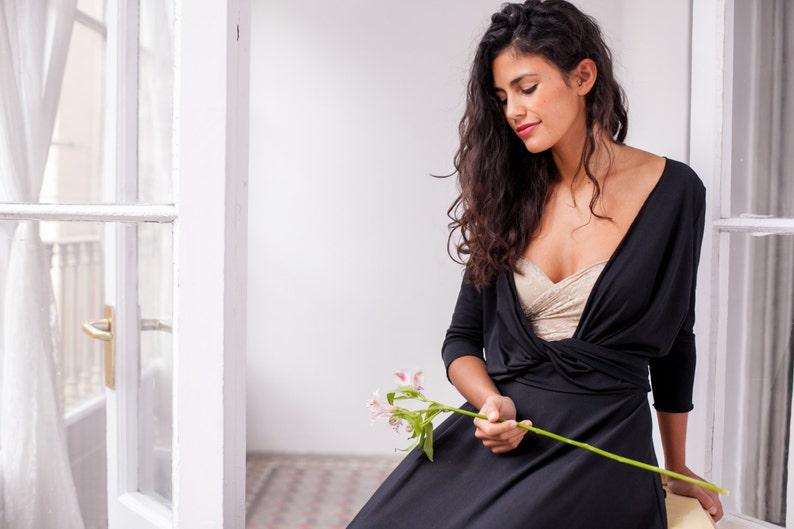 6de3c824a880 Black maxi dress wrap dress long dress black dress black
