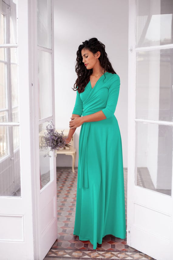 Wedding Guest Dress Light Turquoise Dress With Sleeves Long Etsy