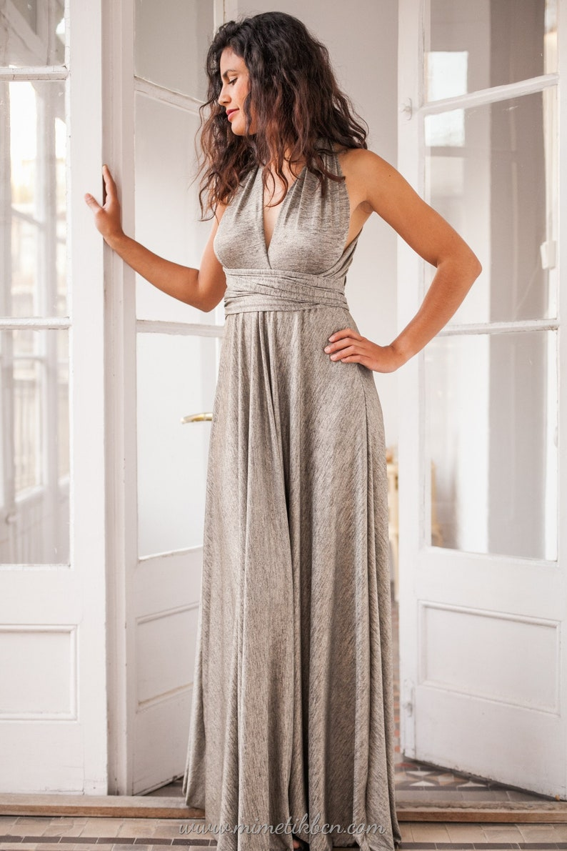 9d49c030fff Maxi dress silver Silver metallic gown Silver bridesmaid