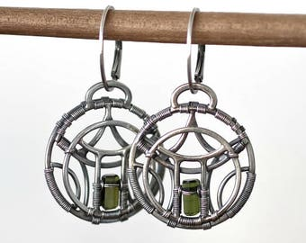 Pagoda - Sterling silver Earrings with Tourmaline