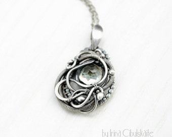 Aveta - Wire wrapped sterling silver pendant with green amethyst (prasiolite) cabochon