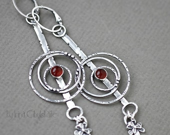 "Long Sterling silver Earrings with Carnelian - ""Ronda"""