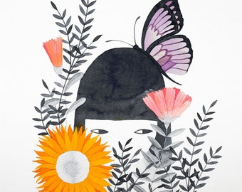 original watercolor painting portrait of a girl with a butterfly