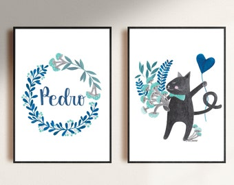 set of personalized digital download printable file illustration of a cat for the nursery room