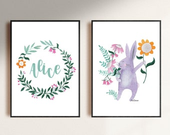 set of personalized digital download printable file illustration of a bunny for the nursery room