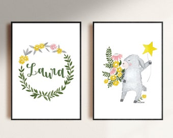 set of personalized digital download printable file illustration of a lamb for the nursery room