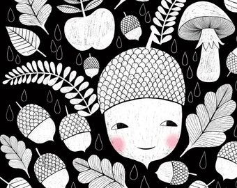 cute black and white acorn with Autumn leaves wall art