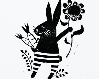 hand stamped original block print of a bunny with carrots and a flower