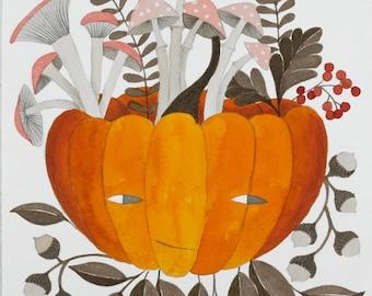 original watercolor painting illustration of an Autumn pumpkin, botanical illustration, wall decor, Halloween art