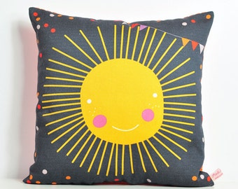 decorative throw pillow for kids room with sun in gray and yellow - 12 inch / 30 cm