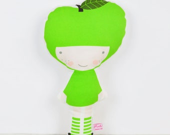 Apple cloth doll in green for pretend play