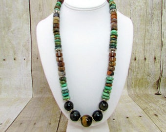 Turquoise and Tiger Eye Necklace -