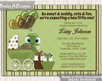 Turtle Baby Shower Invitations boys neutral turtles Stroller Carriage Buggy Green and Brown Made2Order Personalized DIGITAL INVITATION #243