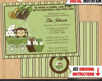 Mod Monkey Baby Shower Invitations monkeys boy boys Carriage Buggy Stroller green brown Pod Pop PERSONALIZED DIGITAL INVITATION Design #323