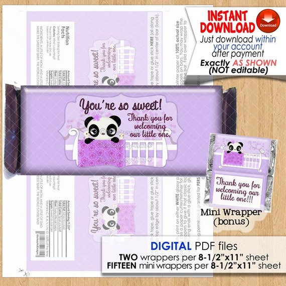 Turtle Girl Baby Shower Miniature Candy Bar Wrappers