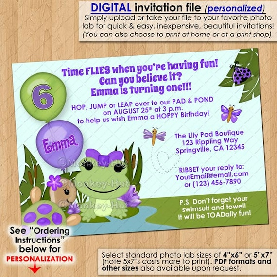 Frog Duck Birthday Party Name Banner Purple Girl Spring Flower Gardening Green 1st 2nd 3rd 4th 5th Boogie Bear Invitations Charlene Theme