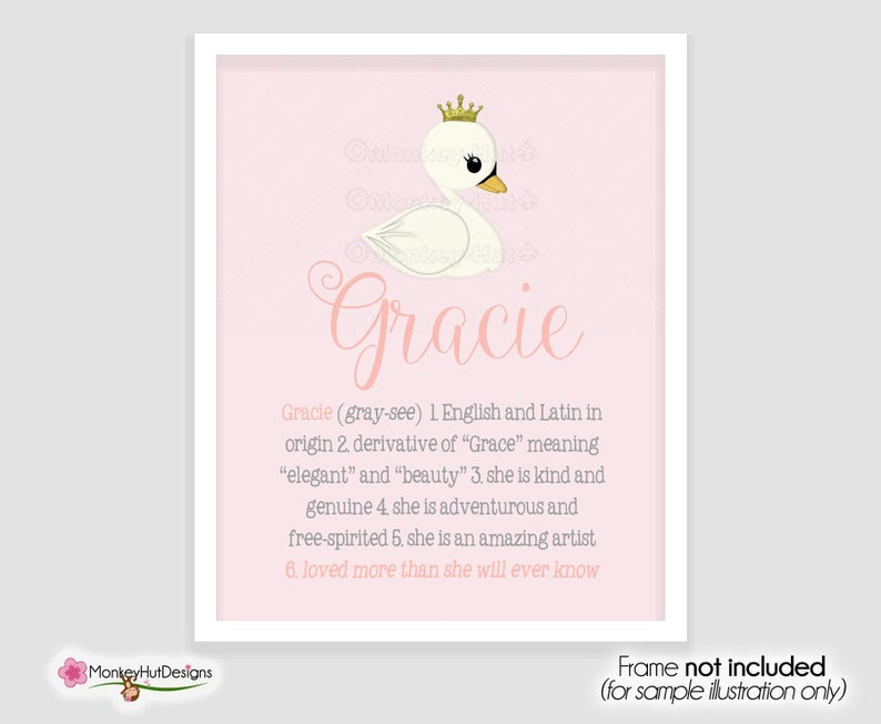 Gracie Personalized Custom Name Meaning Definition wall art baby girls  nursery room Decor Décor customized print pink swans lake theme