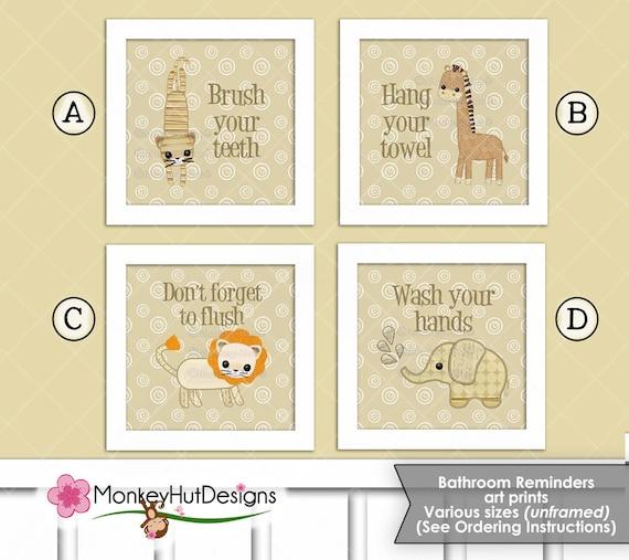 Jungle Safari Animals Animal Crackers Bathroom Art Print Set Etsy