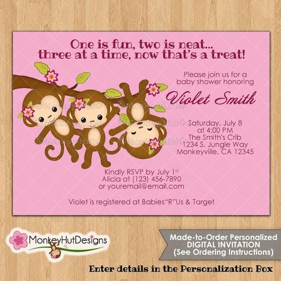Cute Triplet Girls Monkey Baby Shower Invitations Pink Miss Etsy