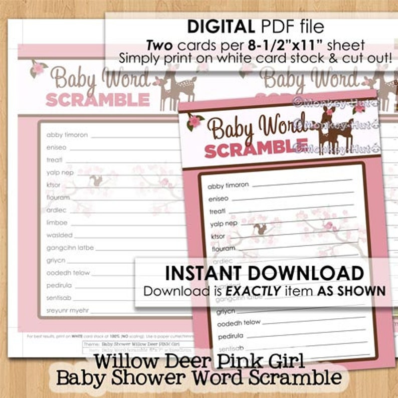 Pink Girl Deer Baby Shower Word Scramble Cards Willow Etsy