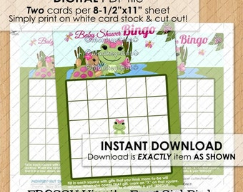 Baby Girl Froggy HIPPITY FROG Baby Shower Bingo Game Printable pond turtle pink INSTANT Download