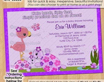 Once Upon a Pond TURTLE Baby Shower Invitations purple turtles mommy flamingo butterfly Custom-made Personalized DIGITAL INVITATION #166
