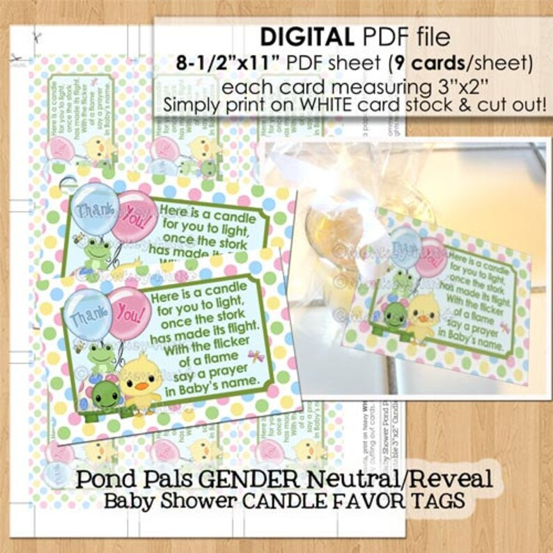 Pond Pals Baby Shower Candle Favor Tags PDF file candles tealight tag poem  Gender Reveal duck turtle frog Printable INSTANT DOWNLOAD 070