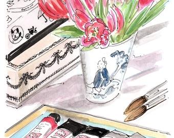 Dream Desk, watercolor
