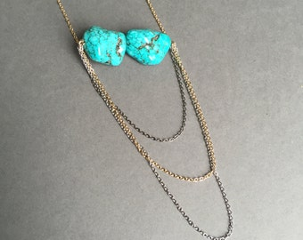 Turquoise stone chunks set on delicate plated chains - CLEARANCE