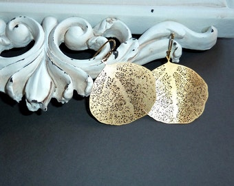 Gold plated filigree leaf earrings - CLEARANCE