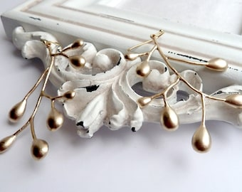 Large Gold plated twig earrings - CLEARANCE