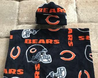 Chicago Bears NFL Newborn baby fleece blanket & hat gift set