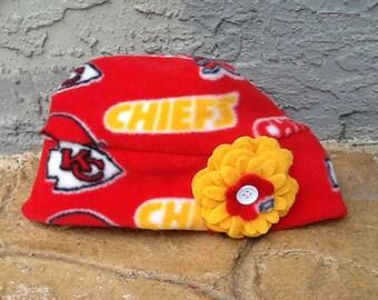 8895d5e6357f9 Kansas City Chiefs Fleece flower hat Sizes Newborn Baby Child and Adult