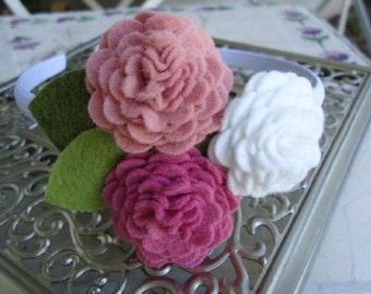 Felt Flower Headband  -White Rose Pink Triangle