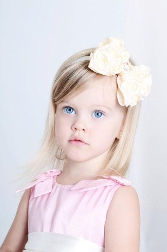 Baby Babies girls HEADBAND HEADBANDS matching HAIR CLIPS rosette pink white